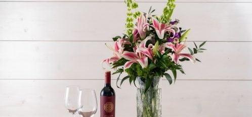 Anniversary Package - Wine, flowers