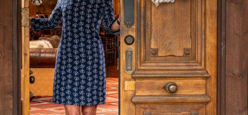 Brenda at front doors